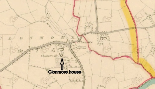 Map showing Clonmore House c.1840 (© O.S.I.)