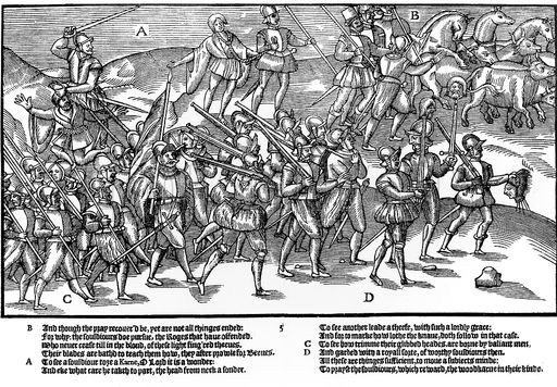 Captured Irish prisoners (note heads impaled on swords) Derricke 1581
