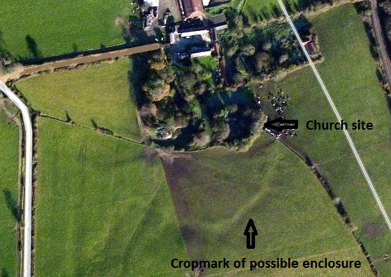 Possible enclosure to the south of St. John's Church, Ballyhogue (Bing maps)