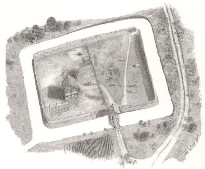 A reconstruction drawing of a moated site (by Simon Dick)