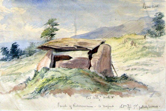 Ballybrittas portal tomb looking northwards towards Bree Hill, July 1862 (Source)
